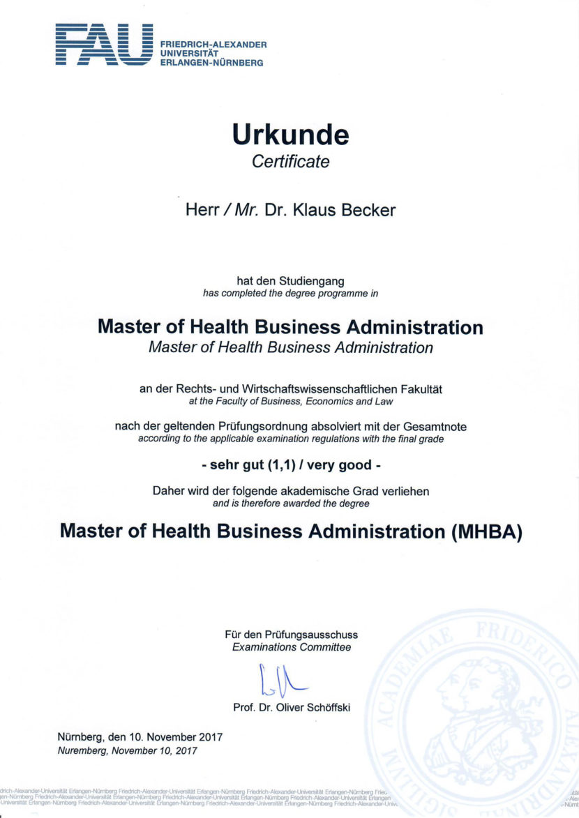 "Qualifikation ""Master of Health Business Administration ..."